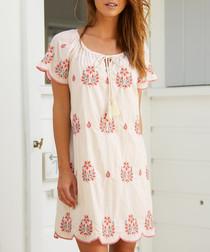 Jade ecru & coral embroidered dress