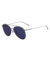 Silver-tone & blue aviator sunglasses