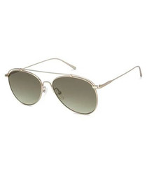 Gold-tone & green aviator sunglasses
