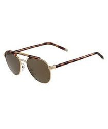 Tortoiseshell brown aviator sunglasses