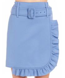 Blue belted ruffle skirt