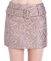 Multi-colour belted mini skirt