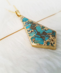 Blue howlite spearhead necklace