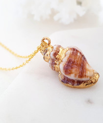 Dove brown & gold-tone shell necklace