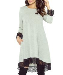 Grey lace trim dress