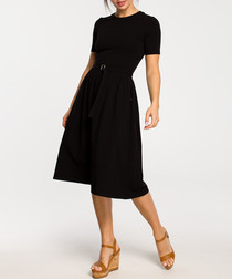 Black cotton blend A-line dress