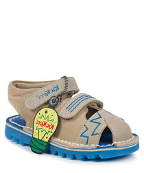 Kick glow blue & sand suede sandals
