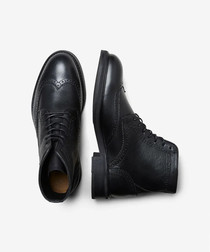 Orin brown leather brogue boots