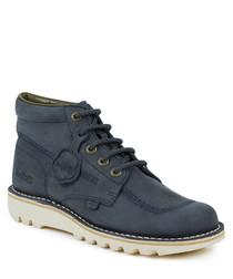 Kick hi navy suede boots