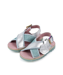 Kick Faerie silver-tone & blue sandals