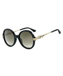Adria black & brown round sunglasses