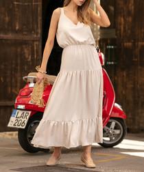 Beige tiered maxi dress