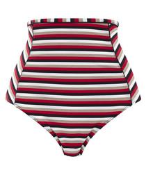 Disco striped hi-rise bikini briefs