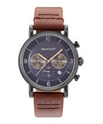 Brown & blue stainless steel watch