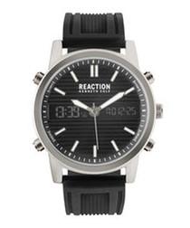 Black quartz silicone watch