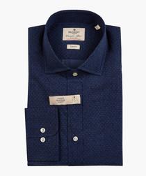 Navy polka dot printed shirt