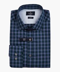 Winter melange green & blue shirt