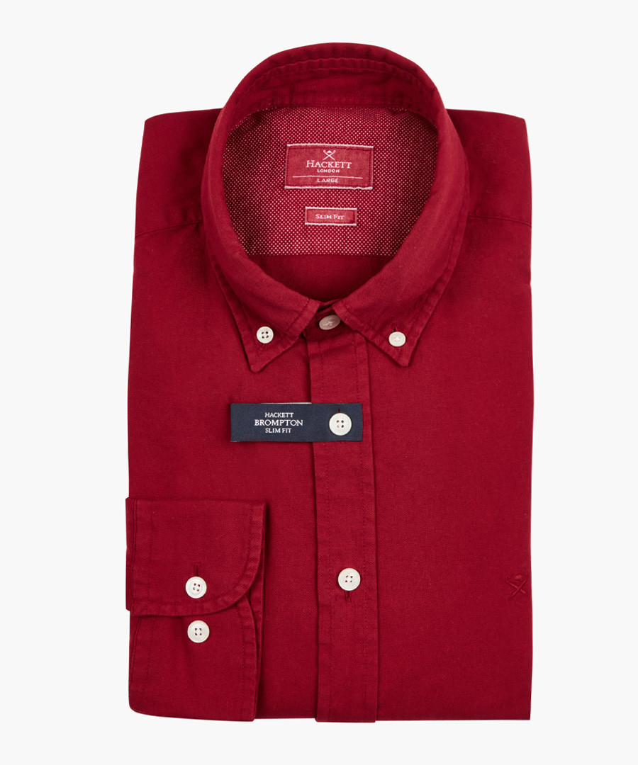 Oxblood button-up shirt Sale - hackett