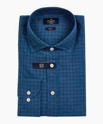 Blue denim houndstooth button-up shirt