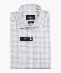 Grey boucle plaid shirt