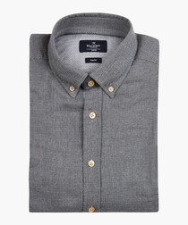 Steel grey button-up shirt