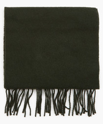 Green wool tassle scarf