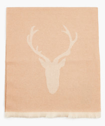 Tan stag motif scarf