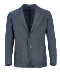 Piquet blue linen blend blazer