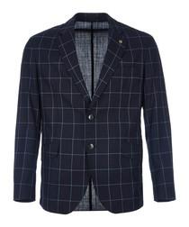 Deep navy pure wool checked blazer
