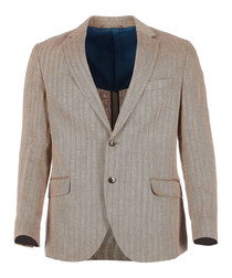 Herringbone tan pure linen blazer