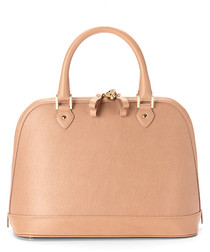 Hepburn nude saffiano leather bag