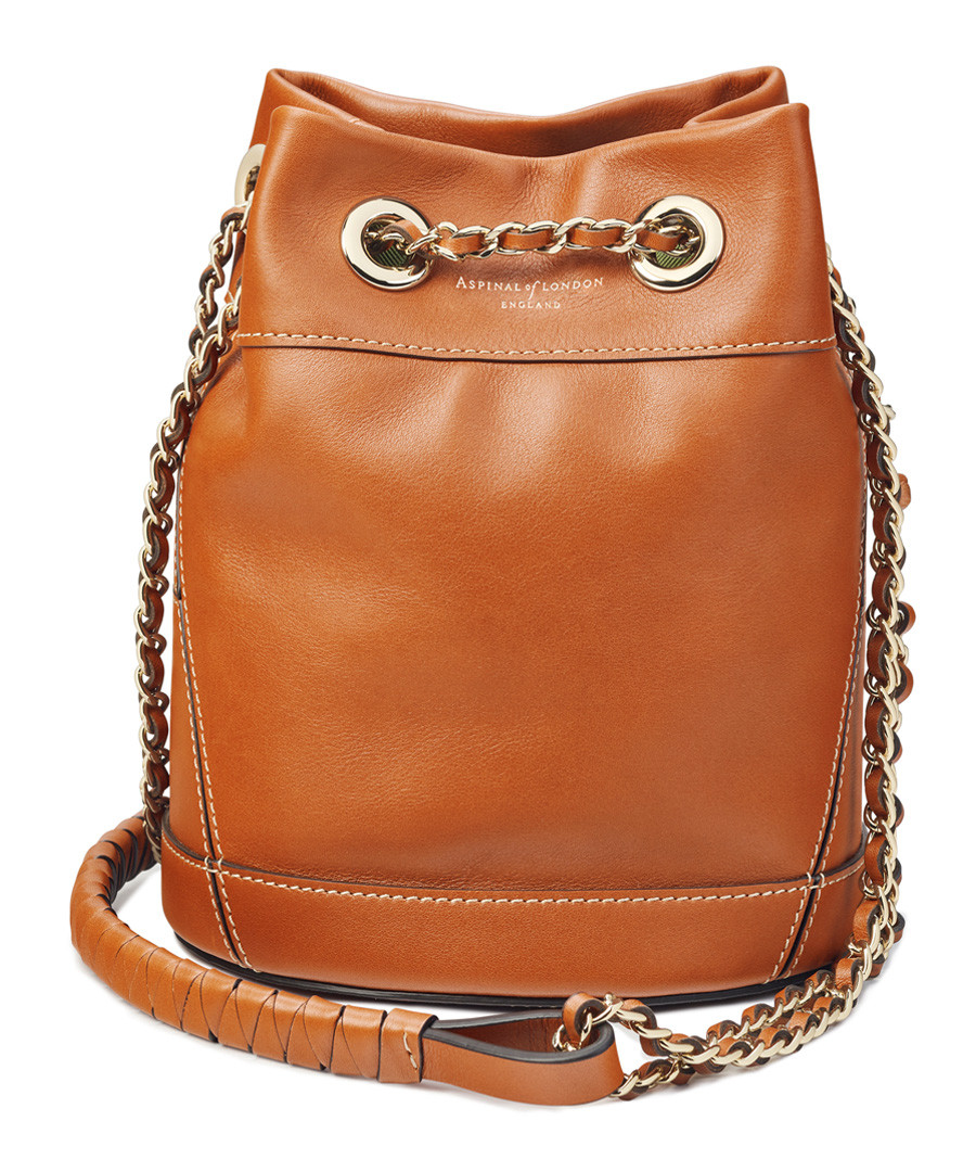 Tan leather bucket crossbody bag Sale - Aspinal of London