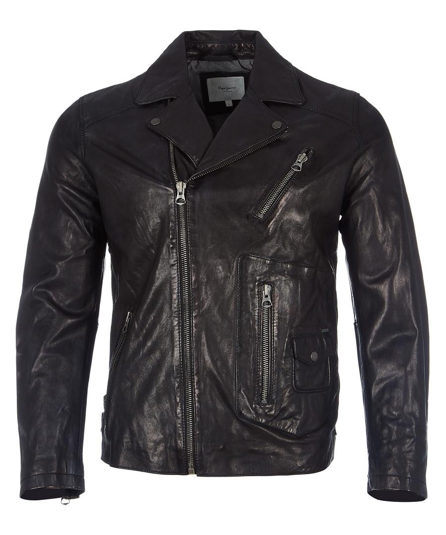 Seaton black leather jacket Sale - pepe jeans