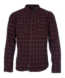 Neil burgundy pure cotton check shirt