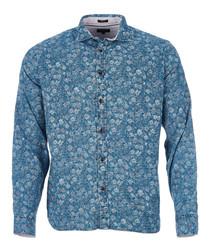Peres indigo pure cotton printed shirt