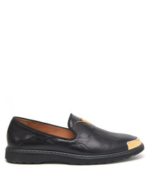 Rombo black leather toe-cap loafers