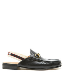 Black leather horsebit slingback mules