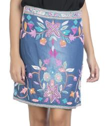 multi-coloured denim embroidered skirt
