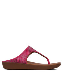Banda crystalled pink leather sandals