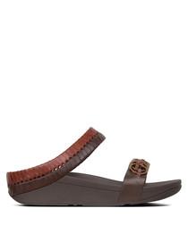 Cirque cognac & tan leather sandals