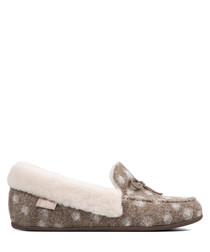 Clara taupe wool dotted moccasins