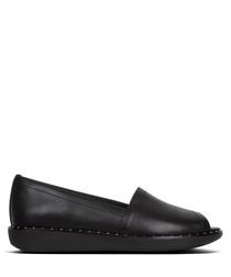 Nadia black leather slip-ons