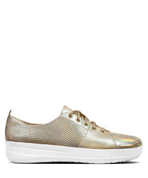 F-Sporty gold-tone leather sneakers