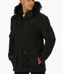 Black insulated hooded jacket