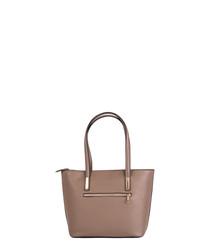 Cesena dark taupe leather shopper