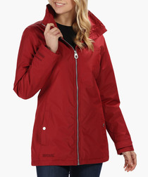 Red insulated zip-up jacket