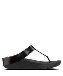 Fino Crystal black toe-post sandals
