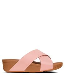 Lulu dusky pink cross slide sandals