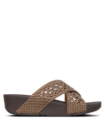 Lulu Wicker bronze-tone sandals