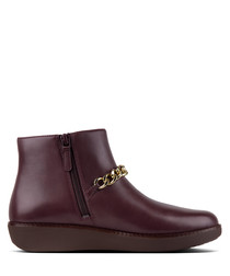 Pia deep plum chain ankle boots